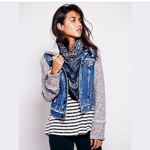 Free People Distressed Denim Knit Hoodie Jacket